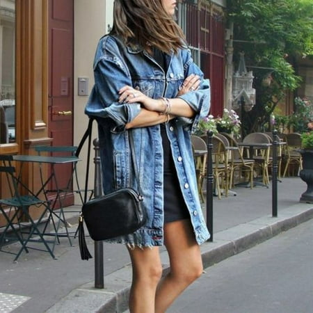 Fashion Denim Jeans Buttons Down Long Sleeve Coat Jacket for Women Lady Cardigan Kaftan Tops