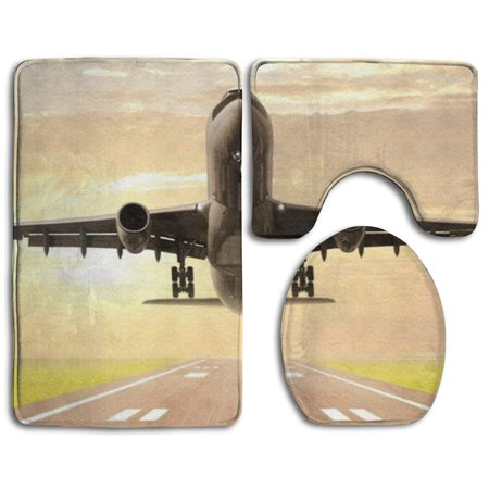 XDDJA 3D Airplane 3 Piece Bathroom Rugs Set Bath Rug Contour Mat and Toilet Lid Cover - image 1 of 2