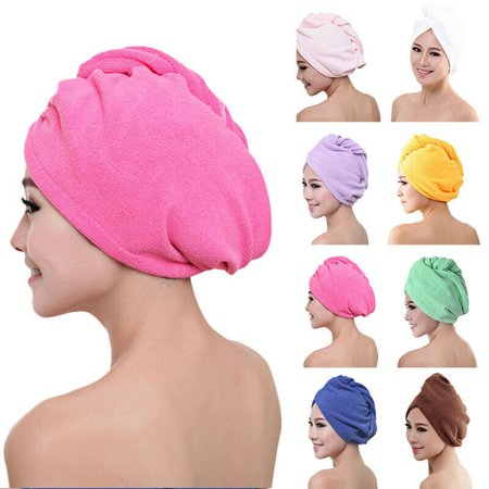 SUNSIOM LARGE QUICK DRY MAGIC HAIR TURBAN TOWEL MICROFIBRE HAIR WRAP BATH TOWEL CAP (Quick Weave Stocking Cap With Hair Left Out)