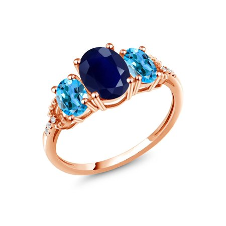 2.83 Ct Oval Blue Sapphire Swiss Blue Topaz 10K Rose Gold Diamond Accent Ring (Blue Blue Sapphire Diamond)