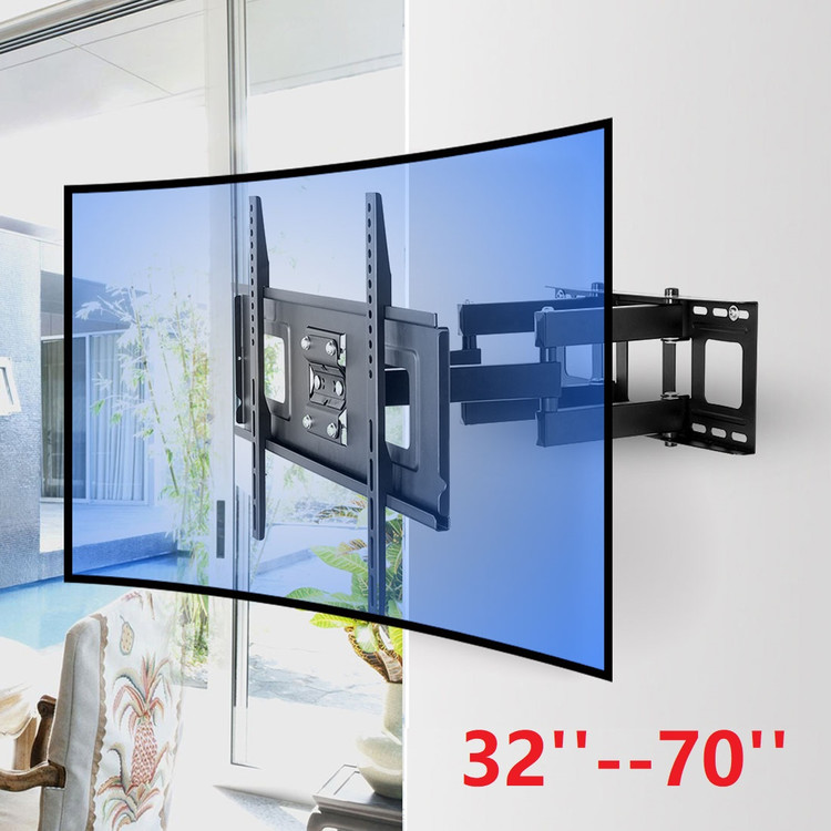 Dual Arm Telescopic Full Motion Rotation TV Wall Stand For 32-65 Inch TV