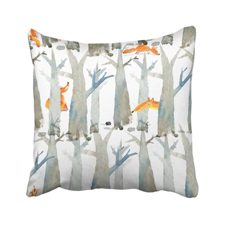BSDHOME Orange Winter Watercolor Pattern Design With Foxes And Trees Silhouettes With Fox Red Grey Pillowcase Pillow Cover 20x20 inches - image 1 de 1