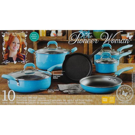 The Pioneer Woman Non-Stick Turquoise Cookware Set, 10 Piece