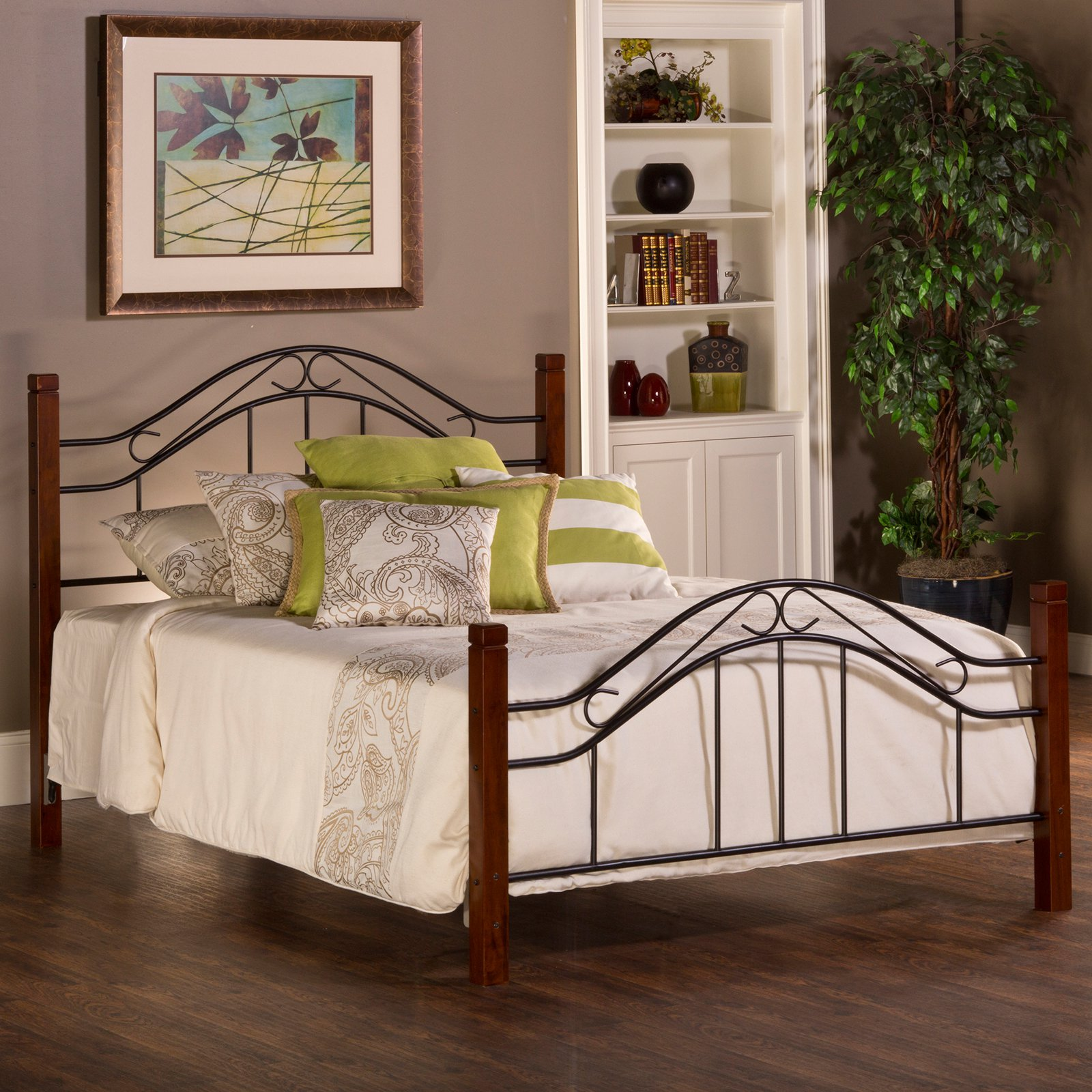 Hillsdale Furniture Matson King Headboard with Bed frame, Cherry / Black Finish