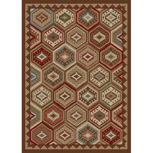 Mayberry Rug Hearthside Lodge Quilt Brown Area Rug