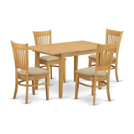 Moderate Rectangular Kitchen Dinette Table & 4 Chairs, Oak ...