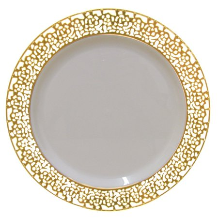 Christmas 10 Inch Plastic Plates Trimmed With Gold Lace. Pack Of 40 Elegant Disposable China Like Dinnerware. 10' Ivory and Gold Lace Dinner Plates. Bone China Christmas Plate