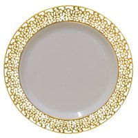 Christmas 10 Inch Plastic Plates Trimmed With Gold Lace. Pack Of 40 Elegant Disposable China Like Dinnerware. 10' Ivory and Gold Lace Dinner Plates.