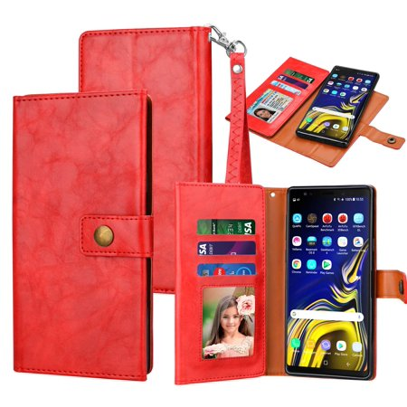 Tekcoo Wallet Case For Samsung Galaxy Note 9, Tekcoo PU Leather ID Cash Credit Card Slots Holder Carrying Folio Flip Cover Work with Car Mount [Detachable Magnetic Hard Case] & Kickstand &