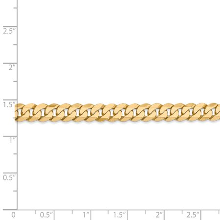 14K Yellow Gold 6.1mm Solid Polished Flat Curb Chain Anklet 9 Inch - image 3 de 4