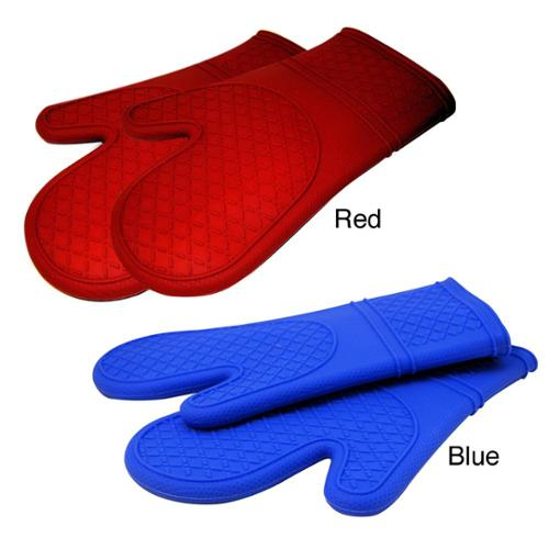 Le Chef Ultra-flex Silicone Padded Kitchen Oven Mitt Set (Pack of 2) Blue Diamond