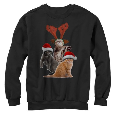 Lost Gods Ugly Christmas Sweater Cats Mens Graphic Sweatshirt