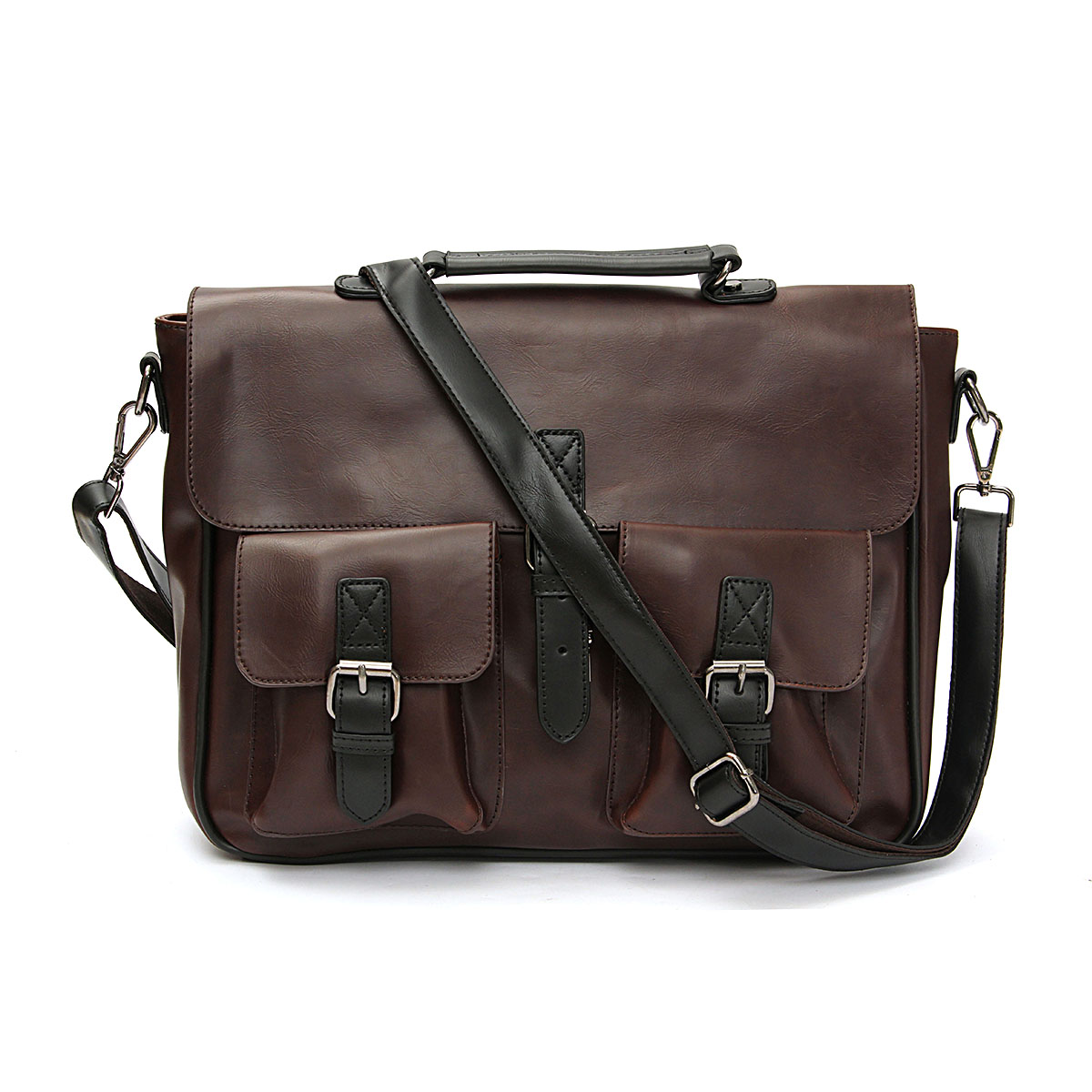 Men Leather Briefcase Backpack Messenger Shoulder Handbag Crossbody Laptop Bag