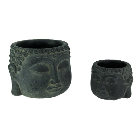 Dark Grey Stone Finish Buddha Head Cement Planter Set of 2
