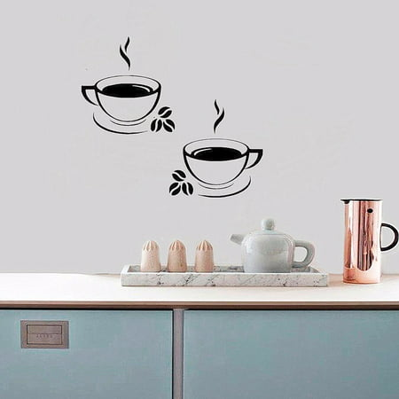 2pcs Coffee Cups Kitchen Wall Window Stickers Waterproof PVC Art Vinyl Decal Restaurant Pub Cafe Shop Peel and Stick Stickers Home - Window Vinyl Decal Sticker