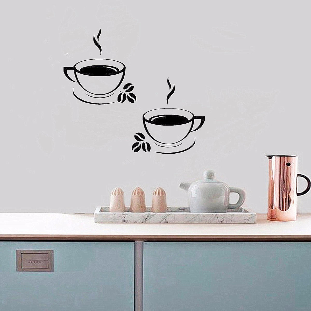 2pcs Coffee Cups Kitchen Wall Window Stickers Waterproof PVC Art Vinyl Decal Restaurant Pub Cafe Shop Peel and Stick Stickers Home Decor