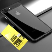 """iPhone 7 & 8 plus Case, Crystal Clear Case Shockproof Transparent Ultra Slim Fit Case for Apple iPhone 7 plus/iphone 8 plus 5.5"""" 2017 Black w/ Tempered Glass Screen Protector"""