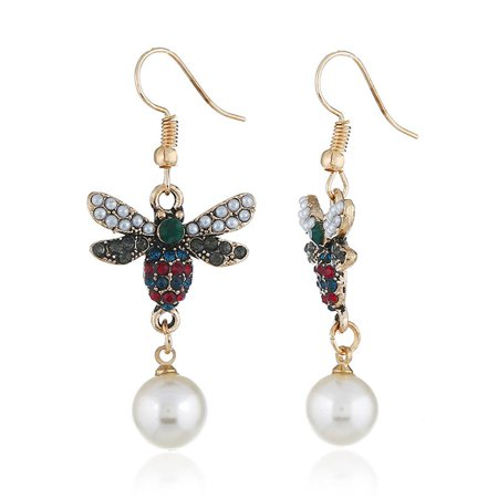 Ustyle Women Bee Rhinestone Imitation Pearl Earrings Female All-match Metal Ear Hook Gift Lady Dangle Drop - image 6 of 7
