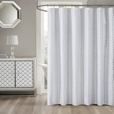 Mainstays Metallic Silver Chevron Shower Curtain
