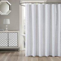 Product Image Mainstays Metallic Silver Chevron Shower Curtain 1 Each