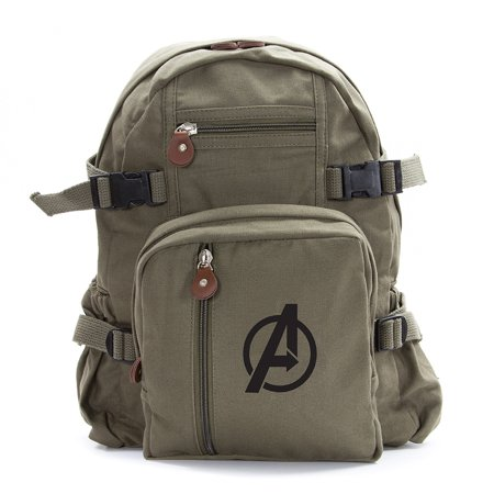 Marvel Superheroes The Avengers Logo Military Backpack Travel School Book