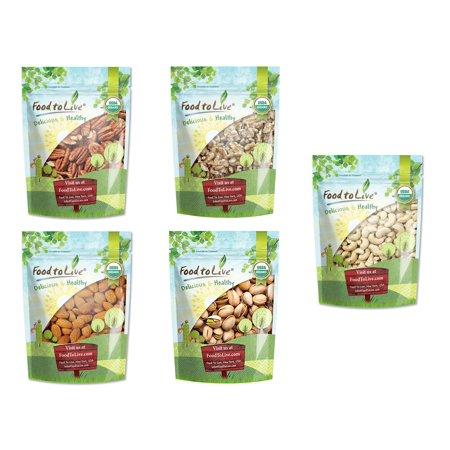 Organic Brain Healthy Nuts Gift Box - Pecans, Walnuts, Almonds, Pistachios, Cashews - by Food to Live (Pistachio Cashew)