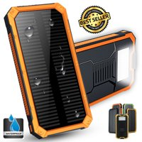 ThorFire Waterproof 100,000mAh Solar Power Bank Dual USB Port LED Flashlight + Carabiner + USB Cable Portable