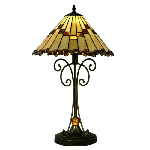 "Dale Tiffany STT15094LED Jerome Single Light 23"" Tall LED Buffet Style Table Lamp with Tiffany Glass Shade"