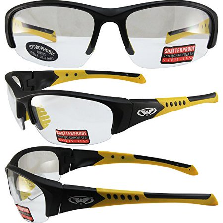Global Vision Bold Safety Sunglasses Black and Yellow Frames Clear Hydrophobic Lenses ANSI Z87.1