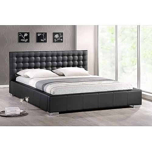 Baxton Studio Madison Queen Modern Platform Bed with Upholstered Headboard, Black
