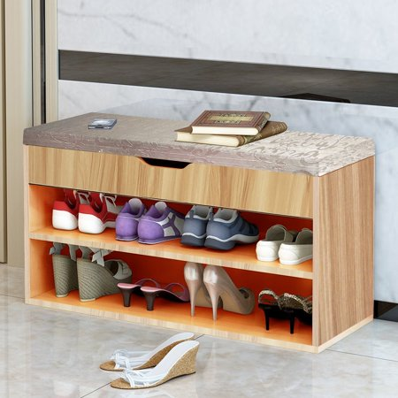 Extra Large Wood Rack - DL furniture - Large Solid Wood Shoe Rack Organizer Storage Shelf Ottoman Seat | Classic Design Cubic Wooden Shell 2 Tier - Home Decor Free Standing Shoe Shelves - Beige