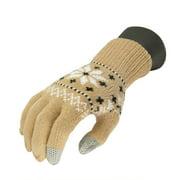 Unisex Light Khaki Jacquard Knit Winter Touchscreen Gloves - One Size