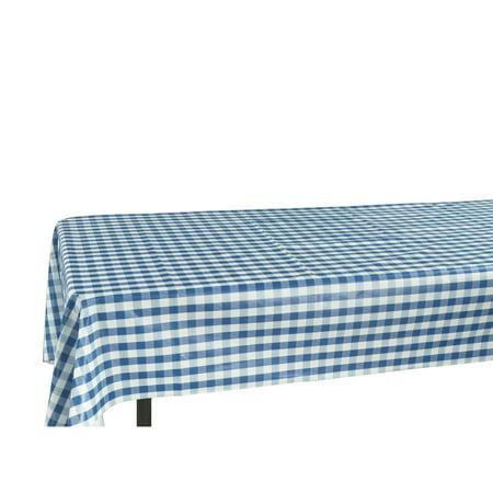 Ottomanson Vinly Blue Checkered Design Indoor and Outdoor Non-Woven Backing Tablecloth - Checked Paper Tablecloths