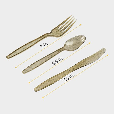 Juvale 96-Pack Gold Glitter Plastic Silverware Set - Disposable Party Cutlery Utensils, Includes 32 Spoons, 32 Forks, 32 Knives - image 1 de 8