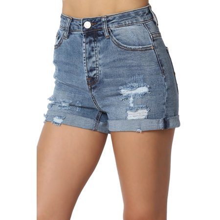 TheMogan Junior's Vintage Distressed Rip Destroyed High Waist Roll Up Denim