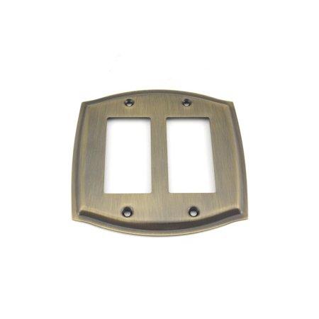 - Baldwin 4787050 Double Rocker Colonial Switch Plate Antique Brass Finish