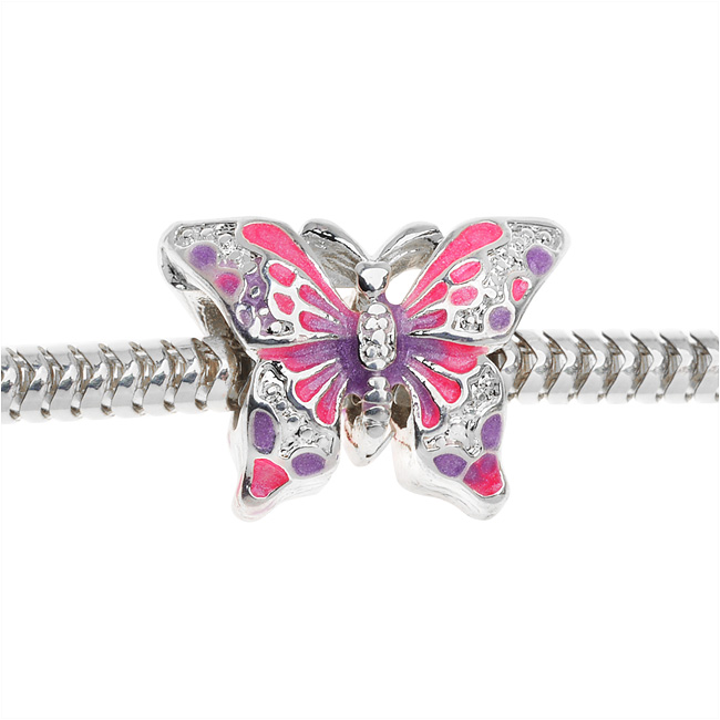 Silver Plated Two Sided Hot Pink And Purple Butterfly - European Style Large Hole Bead (1)
