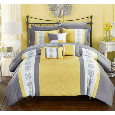 Yellow Comforter - Chic Home 10-Piece Dalton Pin tuck-Pieced Color Block Embroidery Queen Bed In a Bag Comforter Set Yellow With sheet set
