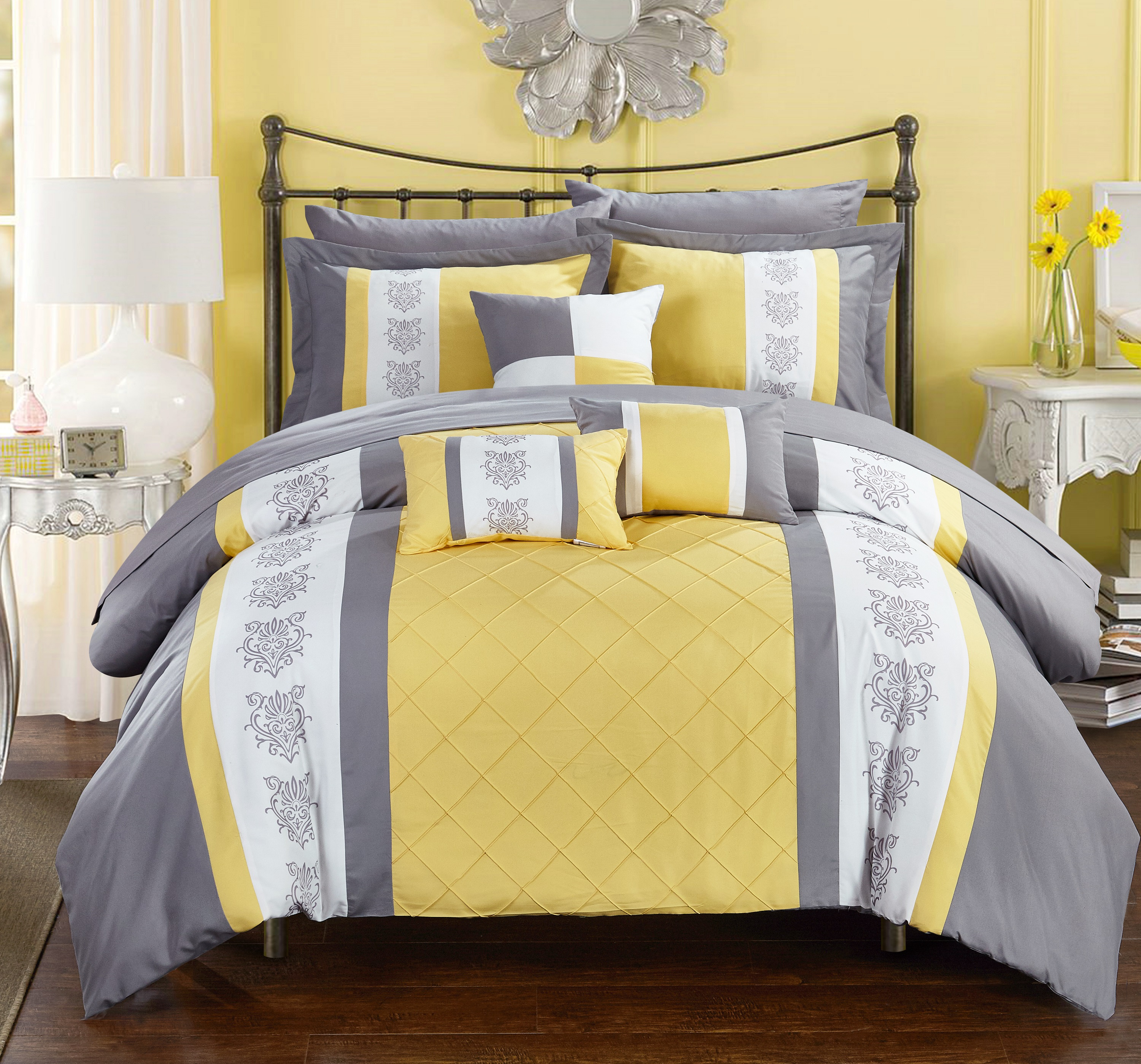 Chic Home 10-Piece Dalton Pin tuck-Pieced Color Block Embroidery Queen Bed In a Bag Comforter Set Yellow With sheet set