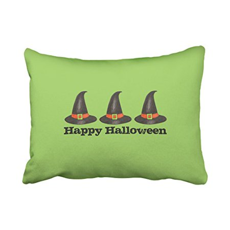 WinHome Cute Vintage Happy Halloween Witches Hat Watercolor Pattern Polyester 20 x 30 Inch Rectangle Throw Pillow Covers With Hidden Zipper Home Sofa Cushion Decorative - Fb Cover Photos Halloween