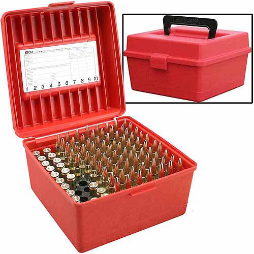 MTM Deluxe Fliptop with Handle, R Series, 100-Round Ammo Case, Red