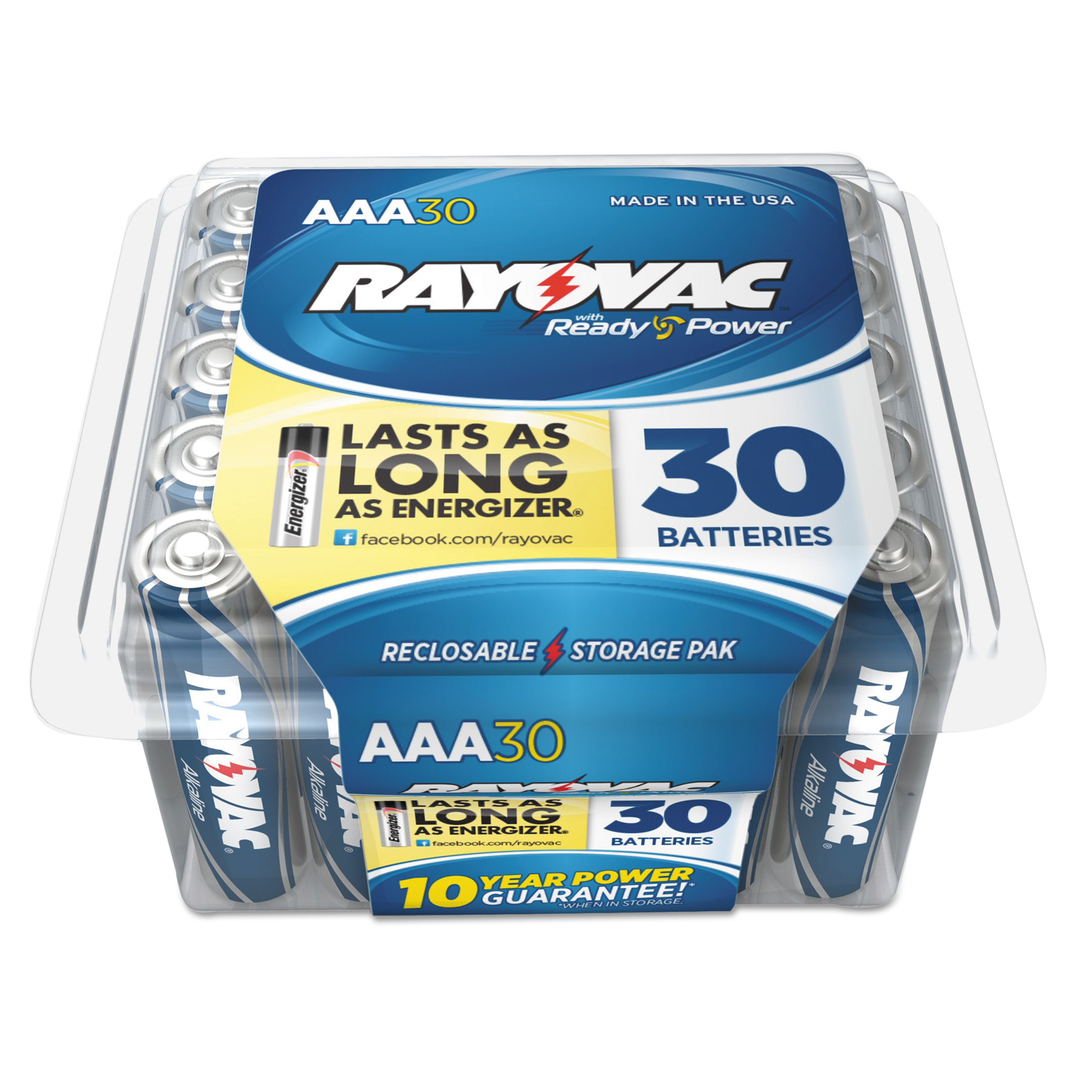Rayovac High Energy Premium Alkaline Battery, AAA, 30/Pack