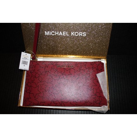 Michael Kors Jet Set Red Mulberry Large Wristlet Clutch