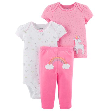 Baby Girl Shirt, Bodysuit & Pants, 3pc Outfit Set - Cop Outfits For Women