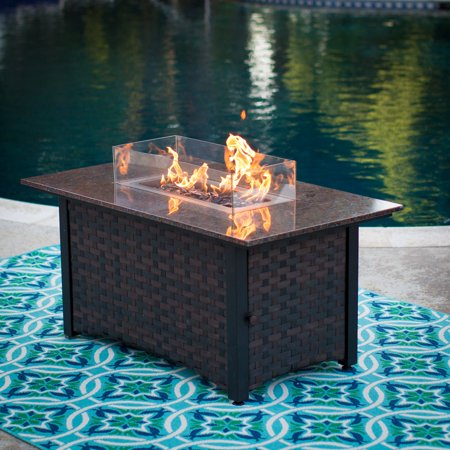 Propane Steam Table - Red Ember Seagrove 48 in. Rectangle Propane Fire Pit Table with FREE Cover