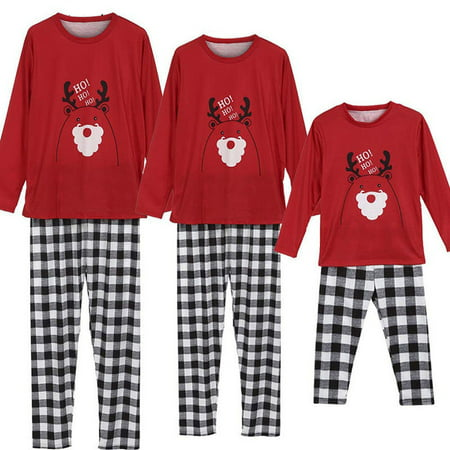 Mama Dad Kid Ho Ho Ho Reindeer Print Family Matching Clothes Long Sleeve and Pants Striped Christmas Pajamas (Personalized Christmas Pajamas)