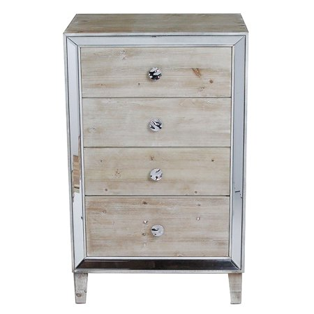 Antique Wash - White Washed Wood Accent Cabinet with 4 Drawers and Antique Mirrored Glass