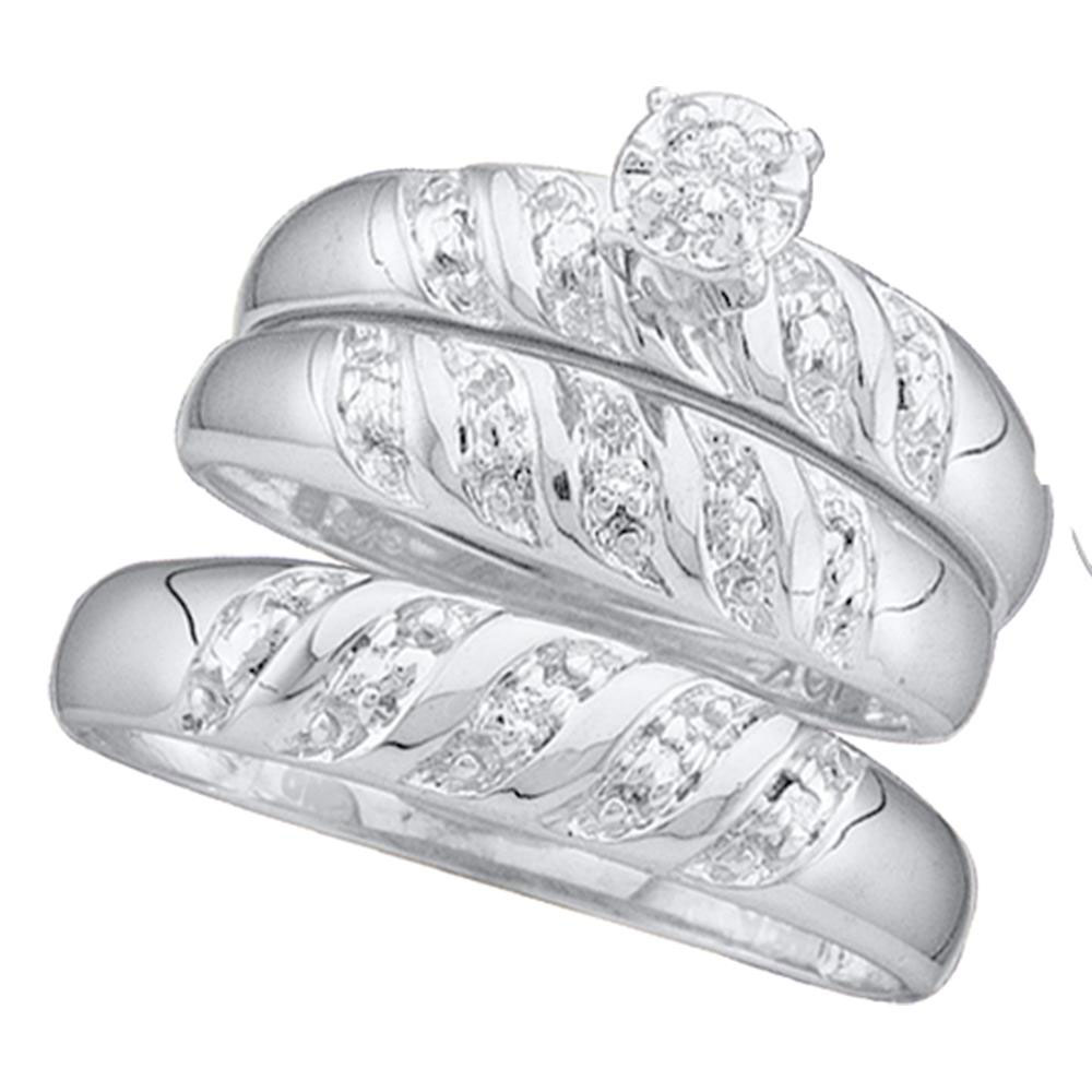 10kt White Gold His & Hers Round Diamond Solitaire Matching Bridal Wedding Ring Band Set 1 12 Cttw by Saris and Things GD