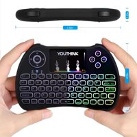 HURRISE Wireless Mini Keyboard ,2.4GHz Wireless Mini Remote Control Keyboard Colorful backlit with Rechargeable Battery Mouse T
