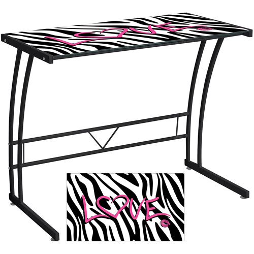 Lumisource Zebra Love Sigma Desk, Black by LumiSource